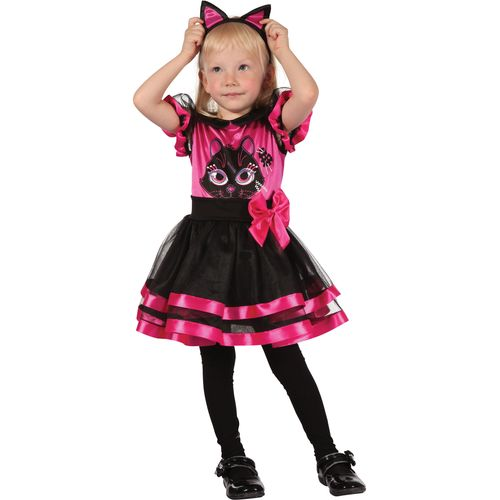 Childs Pink Kitty Halloween Fancy Dress Costume Toddler Age 2-3 Years