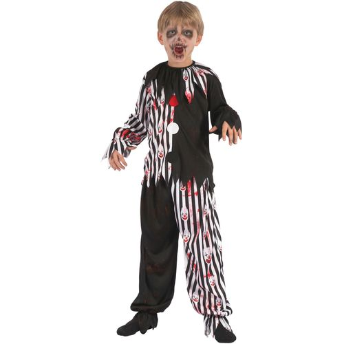 Childs Harlequin Bloody Clown Halloween Fancy Dress Costume Age 5-7 Years