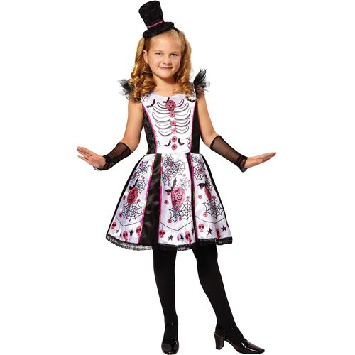 Childs Skeleton Beauty  Halloween Fancy Dress Costume Age 5-7 Years