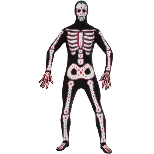Day of the Dead Disappearing Man Skin Tight Halloween Fancy Dress Costume Size M-L