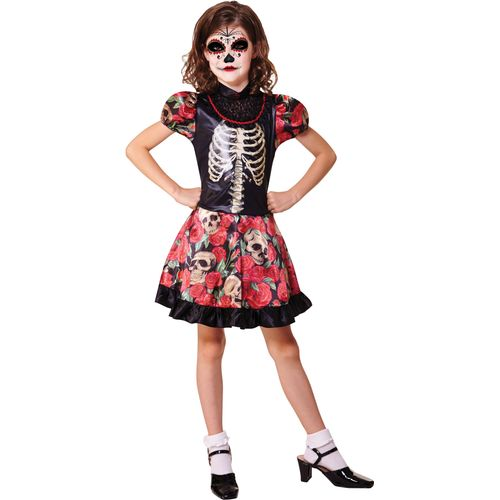 Childs Day of the Dead Girl Halloween Fancy Dress Costume Age 7-9 Years