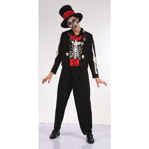 Day Of The Dead Bone Halloween Fancy Dress Costume M-L