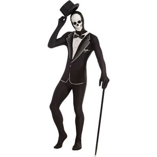 Skeleton Tuxedo Disappearing Man Skin Tight Suit Halloween Fancy Dress Costume Size M-L