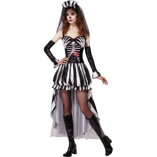 Skeleton Queen Halloween Fancy Dress Costume Size 10-14