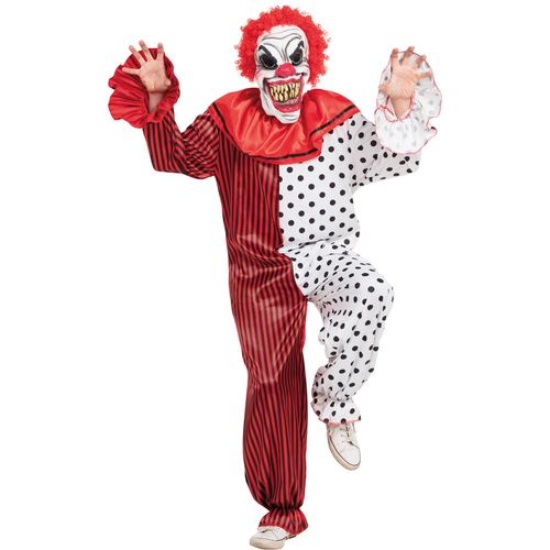 Horror Clown Halloween Fancy Dress Costume with Mask Size M-L