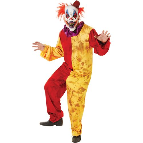Red & Yellow Horror Clown Costume & Mask Standard Size M-L Halloween Fancy Dress