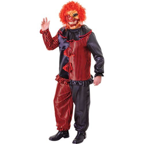 Zombie Clown Halloween Fancy Dress Costume & Mask Standard Size M-L
