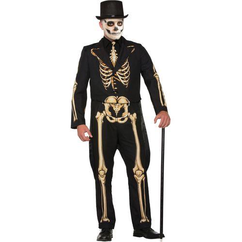 Golden Formal Skeleton Man Halloween Fancy Dress Costume Size M-L