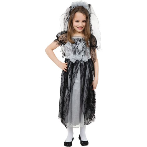 Childs Gothic Bride Halloween Fancy Dress Costume Age 7-9 Years