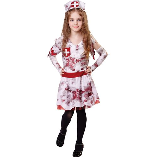 Childs Zombie Nurse Halloween Fancy Dress Costume Age 7-9 Years