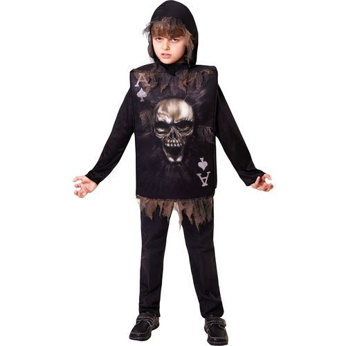 Childs Skeleton Tabard & Hood Halloween Fancy Dress Costume Age 7-9 Years