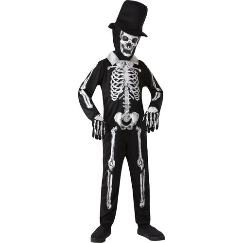 Childs Skeleton Bone Zombie Halloween Fancy Dress Costume Age 7-9 Years