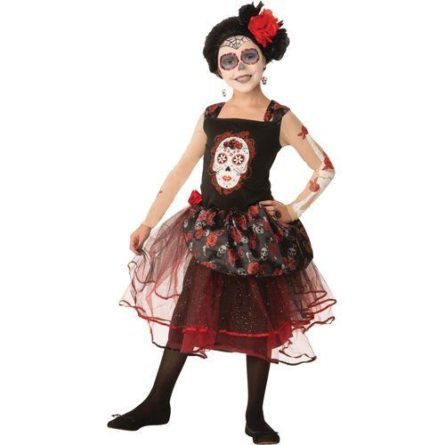 Childs Rose Senorita Day of the Dead Halloween Fancy Dress Costume Age 7-9 Years