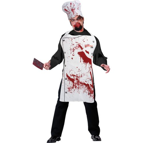 Bloody Chef Apron & Hat Set Halloween Fancy Dress Costume Accessory