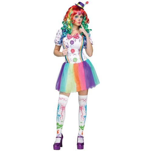 Ladies Colour Killer Clown Halloween Fancy Dress Costume Size 10-12