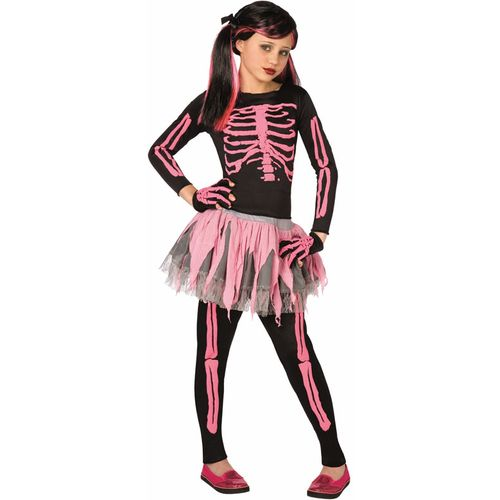Childs Skeleton Girl Halloween Fancy Dress Costume Pink Bones Age 7-9 Years