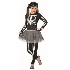 Childs Skeleton Girl Costume (White Bones) Age 4-6