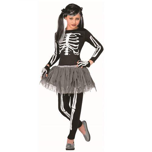Childs Skeleton Girl Halloween Fancy Dress Costume White Bones Age 4-6 Years