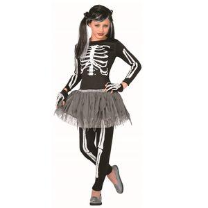 Childs Skeleton Girl Costume (White Bones) Age 7-9
