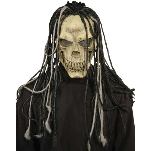 Skull Mask With Dreads Halloween Fancy Dress Costume Accessory