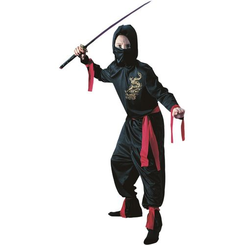 Childs Black Ninja Halloween Fancy Dress Costume Age 8-10 Years