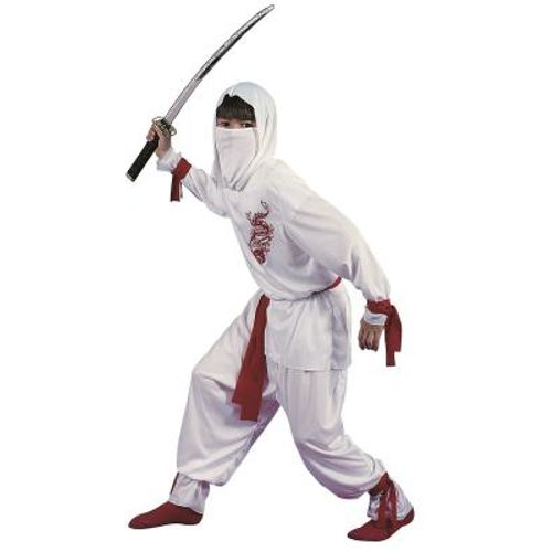 Childs White Ninja Halloween Fancy Dress Costume Age 10-12 Years