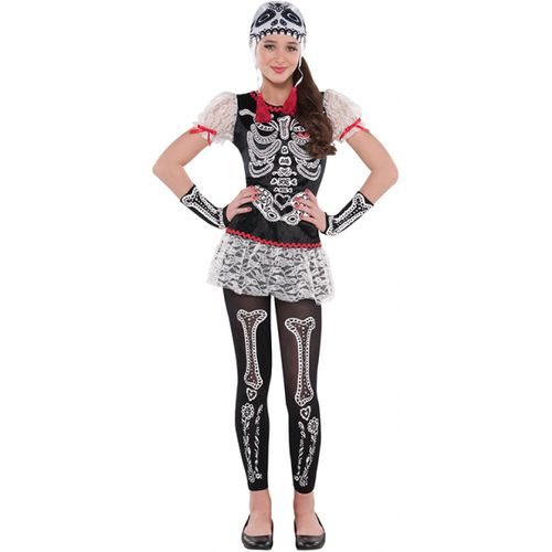 Children Sassy Skeleton Costume - Age 8-10 Years