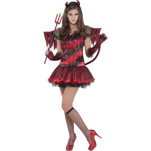 Hot Devil Teen Halloween Fancy Dress Costume Age 14-16 Years