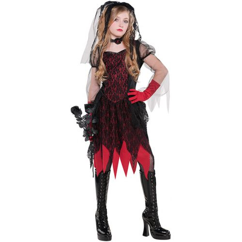 Childs Deadly Wed Zombie Halloween Fancy Dress Costume Age 8-10 Years