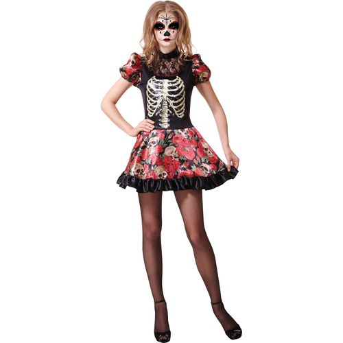 Day of the Dead Doll Halloween Fancy Dress Costume Size10-14