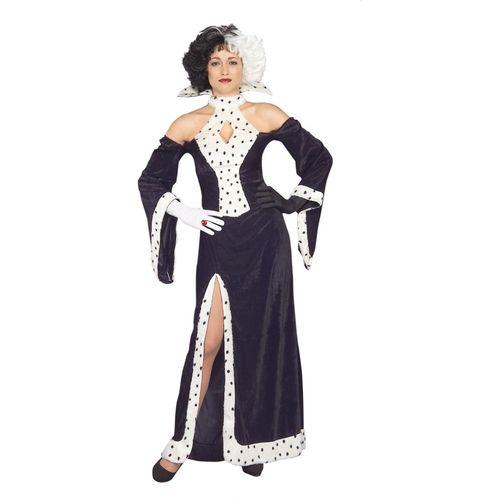 Dog Lovin Diva Cruella De Ville Halloween Fancy Dress Costume Size10-14