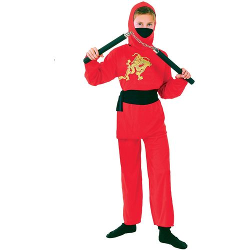 Childs Red Ninja Halloween Fancy Dress Costume Age 7-9 Years