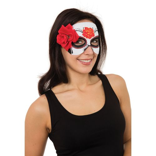 Day of the Dead Eye Mask With Rose Halloween Fancy Dress Costume Accessory