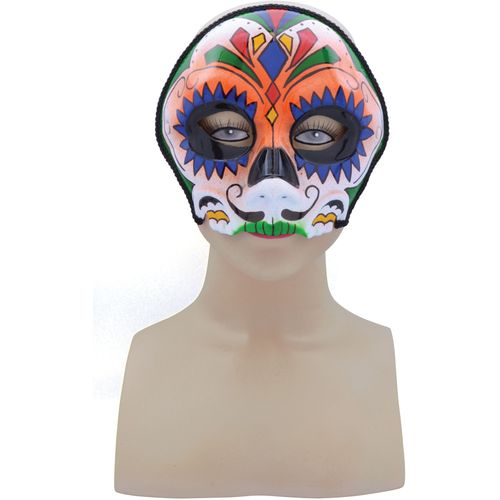 Day of the Dead Sugar Skull Orange Mix Mask Halloween Fancy Dress Costume Accessory