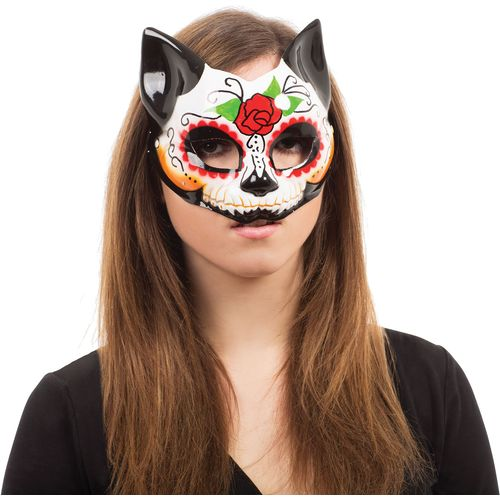 Day of the Dead Kitty Half Face Mask Halloween Fancy Dress Costume Accessory