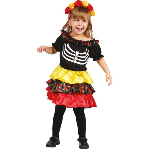 Childs Day of the Dead Pequena Halloween Fancy Dress Costume Age 3-4 Years