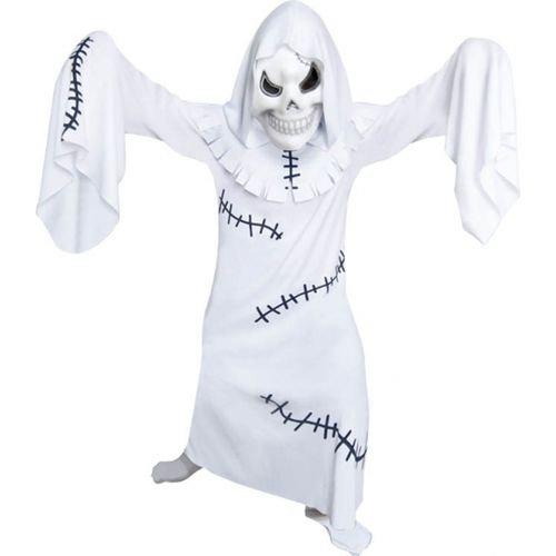 Childs White Ghastly Ghoul Halloween Fancy Dress Costume Age 6-8 Years