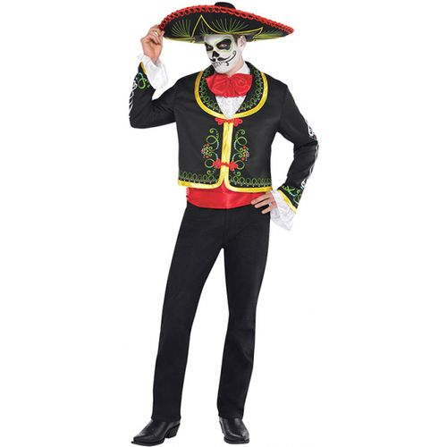 Day of the Dead Senor Skeleton Halloween Fancy Dress Costume Size M-L