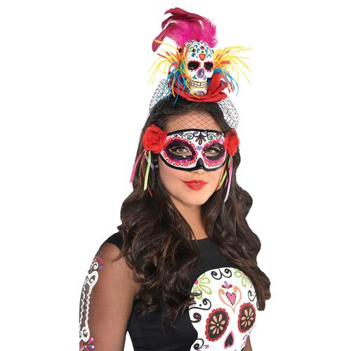 Day of the Dead Sugar Skull Headband Halloween Fancy Dress Costume Accessory