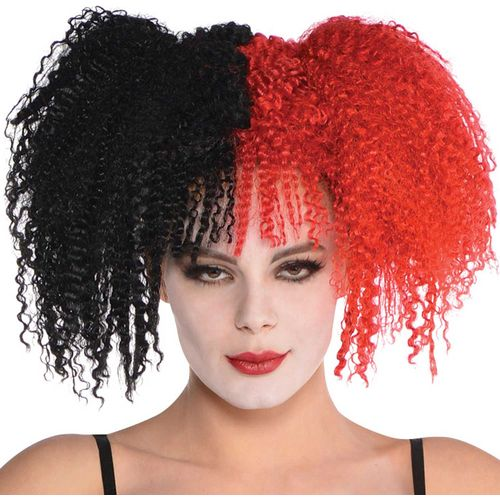 Black & Red Jesterina Wig Halloween Fancy Dress Costume Accessory