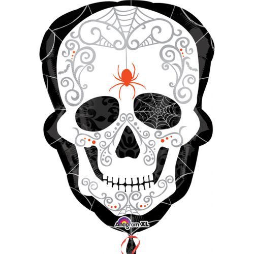 Black & Bone Super Shape Foil Balloon Day of the Dead Halloween Party Room Decoration