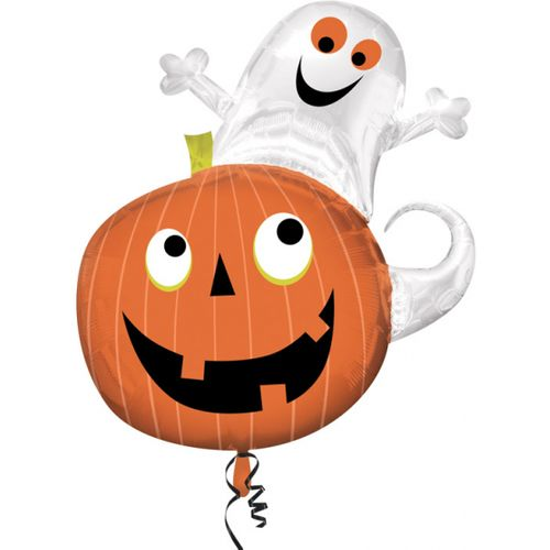 "Ghost on Pumpkin Super Shape Foil Balloon 31"" Halloween Party Room Decoration"
