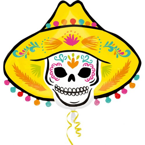 """Sombrero Skull Day of the Dead Super Shape Foil Balloon 24"""" Halloween Party Room Decoration"""