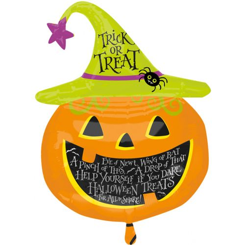 "Witch Hat Pumpkin Super Shape Foil Balloon 31"" Halloween Party Room Decoration"