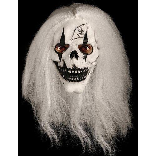 Skull & White Hair Latex Overhead Halloween Fancy Dress Mask