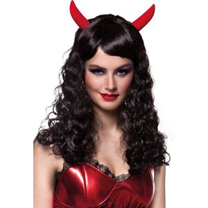 Black Halloween Devil Wig with Horns