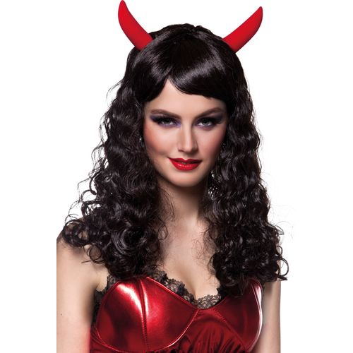 Black Halloween Devil Wig With Horns Fancy Dress Costume Accessory