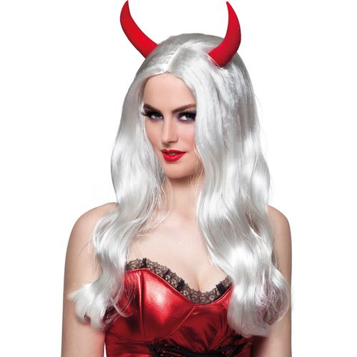 White Devil Halloween Wig with Horns Fancy Dress Costume Accessory