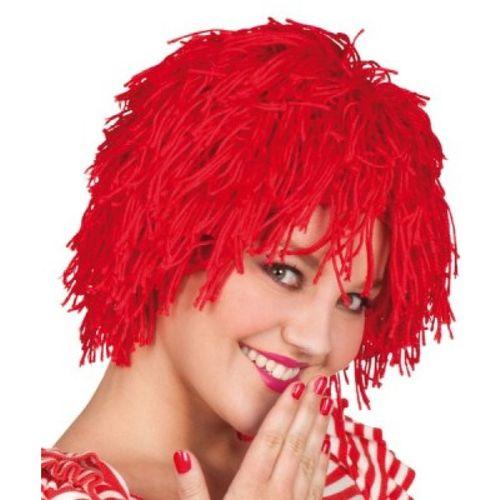 Red Woolly Fancy Dress Clown Wig Halloween Costume Accessory