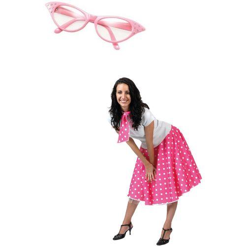 Pink Fifties Fancy Dress Rock N Roll Skirt & Scarf Size 10-14